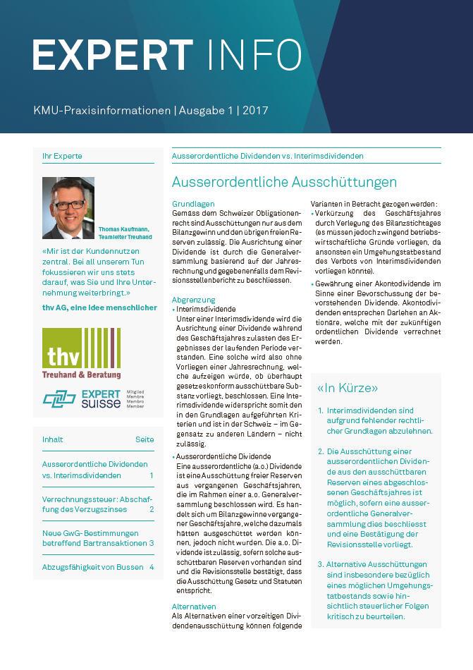 Kundenmagazin thv AG - Ausgabe 01/17