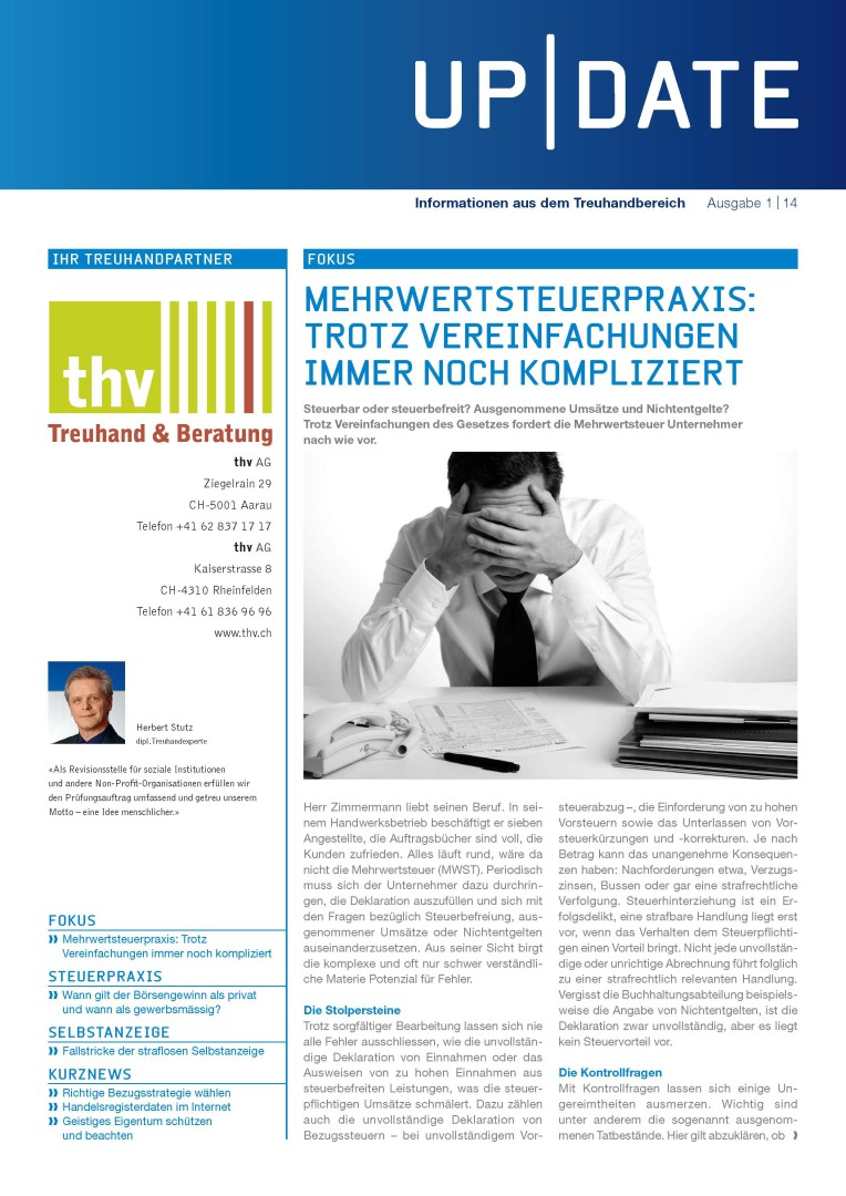 Kundenmagazin thv AG - Ausgabe 01/14